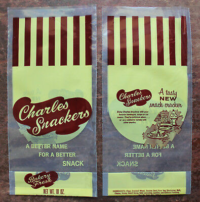 "10 Charles Chips ""Charles Snackers"" Snack Crackers New Old Stock Vinyl Bags"