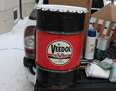 Vintage Veedol Oil Grease Can Tidewater oil Co Garbage Can Garage Sign