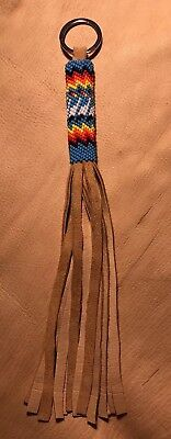 One Awesome Neat New Native American Lakota Sioux Beaded Leather Keychain