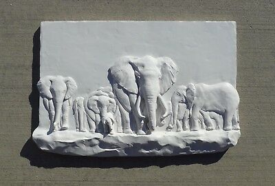 Elephents embossment sculpture, white color, Home wall deco, Unusual gift