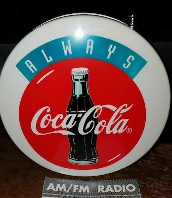 Vintage 1980's Coca Cola Coke Round AM/FM Radio NOS In Original Box WORKS GREAT!