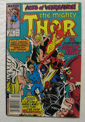 The Mighty Thor #412 , 1989 (FN+), New Warriors 1st App., Juggernaut exiled