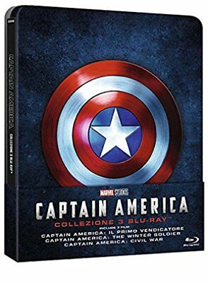 CAPTAIN AMERICA TRILOGY 1-3 BLU-RAY COLLECTION 1 2 3 STEELBOOK Italy Import New