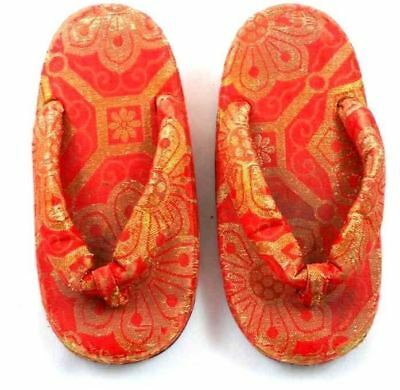 Japanese Thongs Antique Childrens Shoes   Red Damask Provenance
