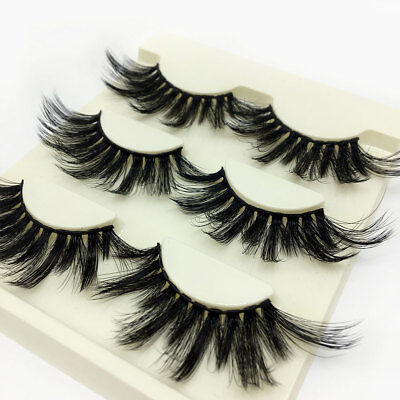 3Pairs*SKONHED 3D Mink Hair False Eyelashes Wispy Fluffy 25mm Lashes Handmade