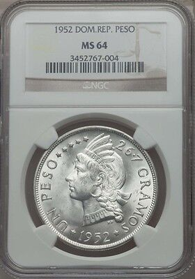 Dominican Republic 1952 Peso Silver Coin, Certified Choice Uncirculated Ngc Ms64
