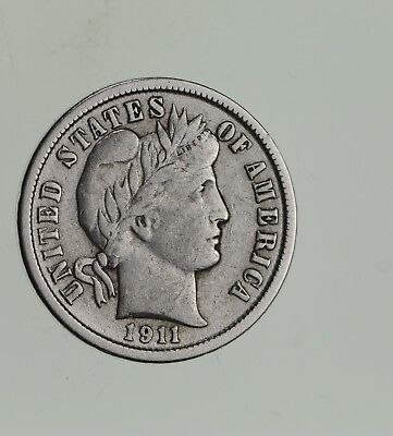 Higher Grade - 1911 Barber Liberty US Silver Dime - Great Detail in LIBERTY *552