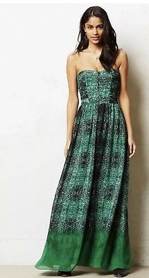 Anthropologie Moulinette Soeurs Vernalis Green Snake Maxi Dress 6