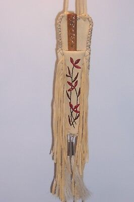 Quilled buskskin knife sheath with fringe and vintage knife included.