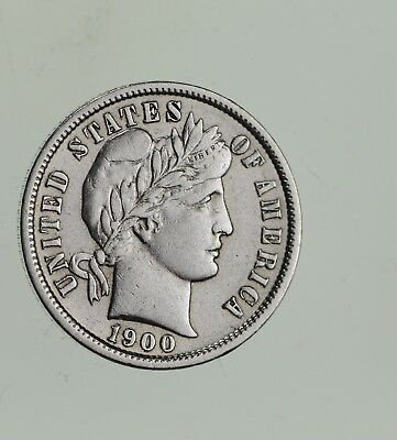 Higher Grade - 1900 Barber Liberty US Silver Dime - Great Detail in LIBERTY *734