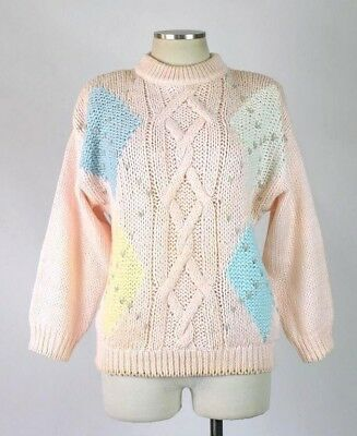 Vintage 90s Sweater Pastel Pink Ivory Blue Chunky Cable Knit Jumper Top Womens M
