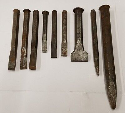 Vintage lot of 9 Cold Chisels & Punches Machinist Mechanic Steel Blacksmith