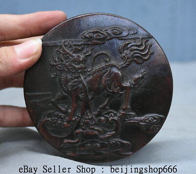 "4.4"" Old Chinese Dynasty Rosewood Wood Hand Carved Kylin Qilin Beast Jewelry box"
