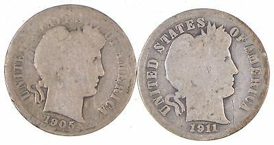 Lot of (2) Early 1892-1916 Barber Liberty United States SILVER Dimes *577