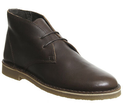Mens Office Inferno Desert Boots Choc Leather Boots