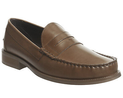 Mens Ask The Missus Bonjourno Penny Loafers Tan Leather Casual Shoes