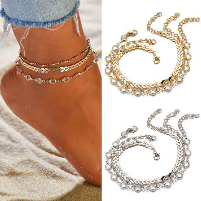 Women Three-layer Anklet Bracelet Foot Chain with Leaves Accessories Jewelry NEW