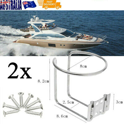 2X Stainless Steel Ring Cup Drink Holder Opened Marine Yacht Boat with Screws