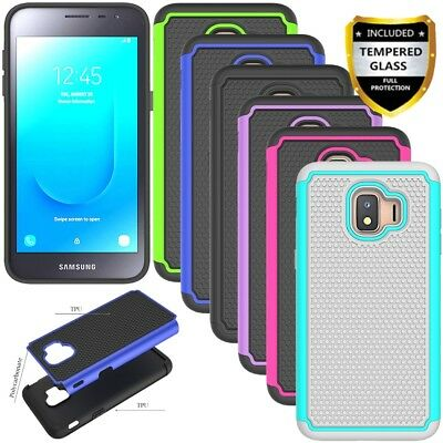 For Samsung Galaxy J2 Core Shockproof Armor Dual Rubber Hard Case+Tempered Glass