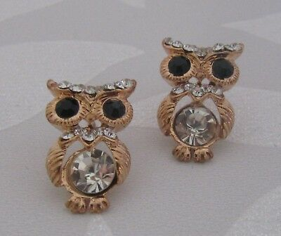 Gold Plated Crystal Wise Owl Stud Earrings for Pierced Ears - L 20mm
