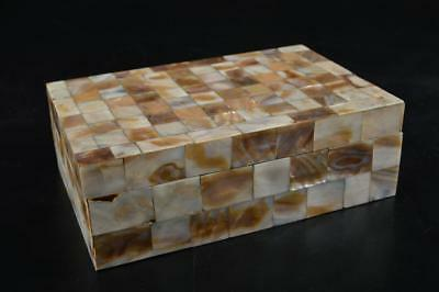 G3670: Japanese Wooden Shell pattern CONTAINER for article Accessories Case Box