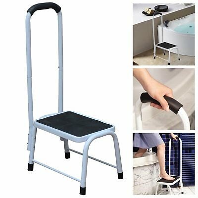 Non Slip Safety Step Stool Kitchen Bath Shower Mobility Aid Handrail Platform