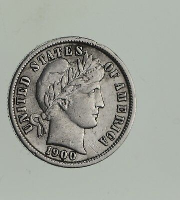 Higher Grade - 1900 Barber Liberty US Silver Dime - Great Detail in LIBERTY *737