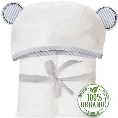 Organic Bamboo Hooded Baby Towel – Soft, Hooded Bath Towels with Ears for Baby