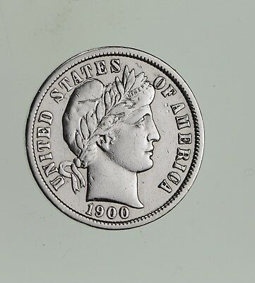 Higher Grade - 1900 Barber Liberty US Silver Dime - Great Detail in LIBERTY *547