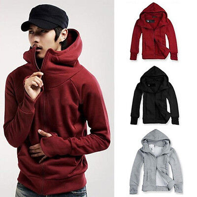 AU_ Men's Winter Hoodie Warm Hooded Sweatshirt Coat Jacket Outwear Sweater Tops
