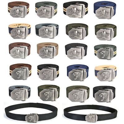 Men Tactical Belt Automatic Metal Buckle Army Canvas Outdoor Military Style Belt