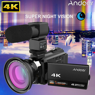 Andoer 4K 1080P 48MP WiFi Digital Video Camera Camcorder Recorder + Microphone