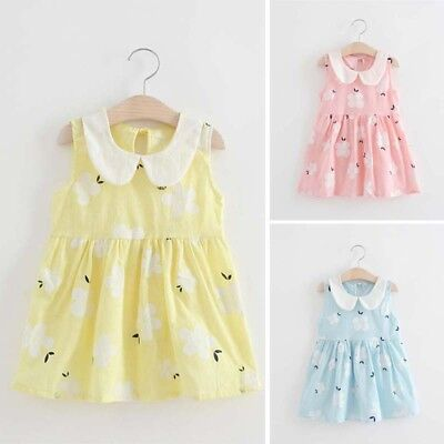 Kids Baby Girls Casual Floral Dress Cotton Soft Floral Printed Dress Bridal