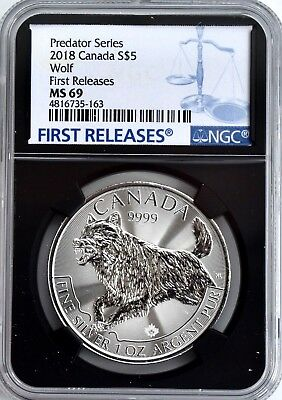 2018 Canada 1oz Silver Wolf Predator Series NGC MS69 Coin FIRST RELEASES