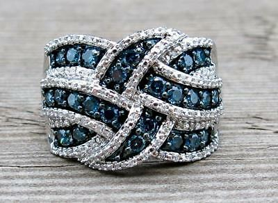 Sapphire 925 Silver Ring Infinity Jewelry Wedding Engagement Party Size 5-11