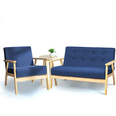 Modern Accent Tub Sofa Love Seat Armchair Blue Fabric 1 / 2 Seater Settee Wooden
