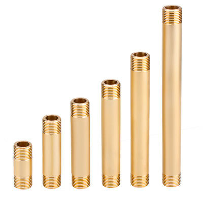 """2x Brass Round Pipe Fitting 50/80/100/120mm Length Nipple with G1/2"""" Male Thread"""