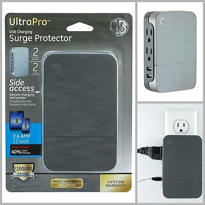GE Ultrapro 2 Outlet 2 USB Side Access Surge Protector Tap Plug In 2.4 Amp