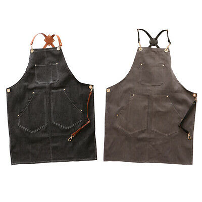 2PCS Adjustable Cross Back Denim Apron Multi Pocket E Black+Grey