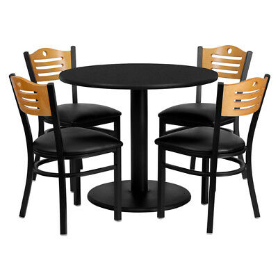 Flash Furniture Round Table Set With 4 Wood Slat Back Metal Chairs - Vinyl Seat