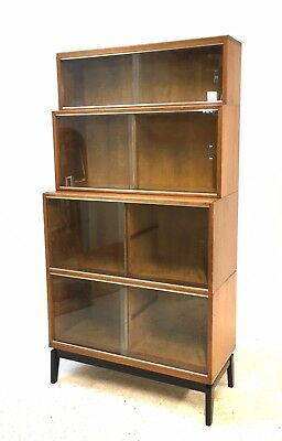 Vintage Mid Century Teak Tiered Sectional Barristers Library Bookcase Sideboard
