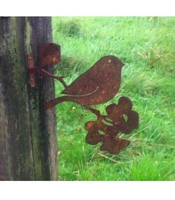Rusty Metal Robin on a Branch Garden  Silhouette Ornament