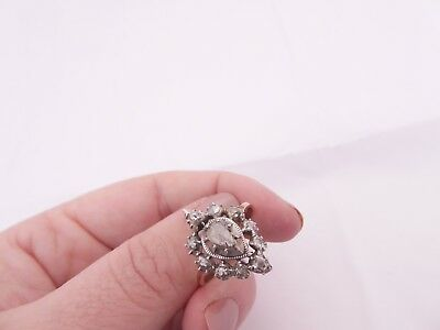 Fine early 18th century old rose cut diamond 9ct rose gold silver cluster ring