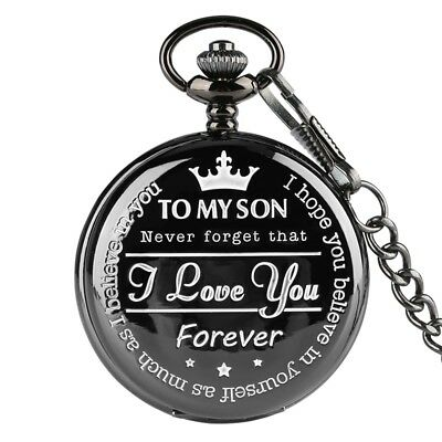 To My Son I Love You Pocket Watch Quartz Watch Full Hunter Necklace Penant Chain