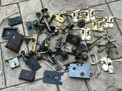 Job Lot Vintage Brass Door Handles Locks Knobs Openers Door Furniture Hardware