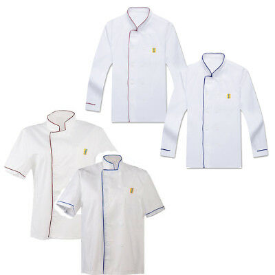 Men Women Chef Uniform Cook Jacket Apparel Short Sleeve Coat Cooking Workwear