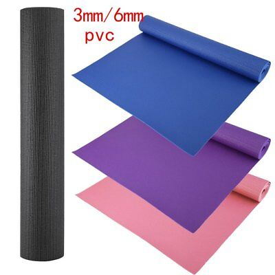 PVC Large Yoga Mat Extra Thick 6mm 3mm 173cm x 61cm Non Slip Exercise Gym Picnic
