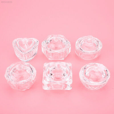 BE56 Crystal Clear Glass Dish Cup w/ Lid For Nail Art Acrylic Liquid Powder