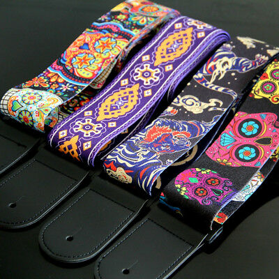 Asian Tiger East Dragon Colorful Calavera Skull Acoustic Guitar Strap Bass Belt