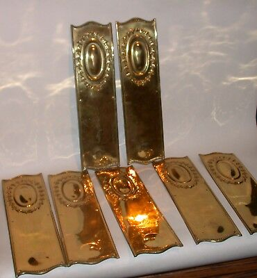 7 Vintage Pressed Brass Door Finger Plates